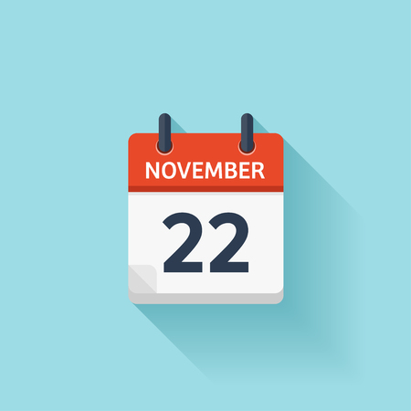 time of the day: November  22. Vector flat daily calendar icon. Date and time, day, month. Holiday. Illustration