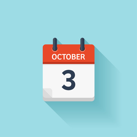 3 month: October  3. Vector flat daily calendar icon. Date and time, day, month. Holiday. Illustration
