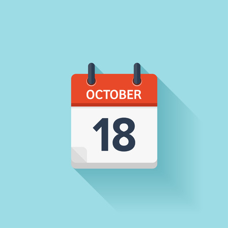 October 18 . Vector flat daily calendar icon. Date and time, day, month. Holiday.