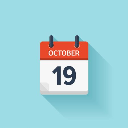 time of the day: October  19. Vector flat daily calendar icon. Date and time, day, month. Holiday.