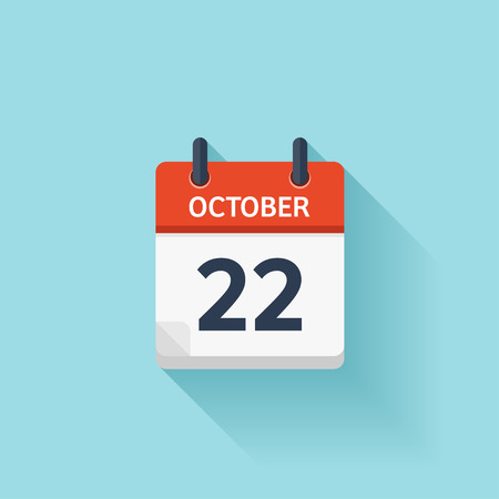 time of day: October  22. Vector flat daily calendar icon. Date and time, day, month. Holiday.