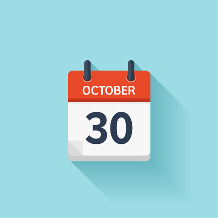 time of day: October  30. Vector flat daily calendar icon. Date and time, day, month. Holiday.