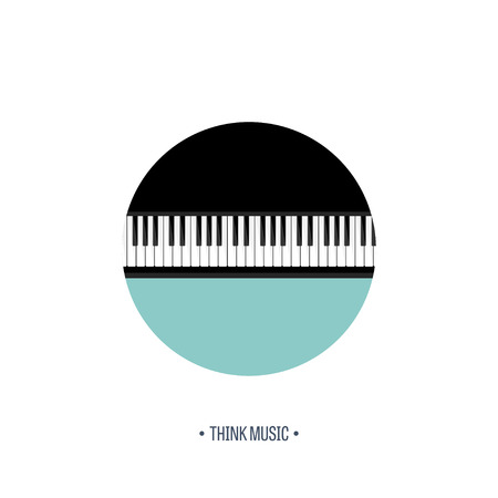 piano key: Vector illustration. Musical flat background. Piano key, keyboard. Melody. Instrument. Illustration