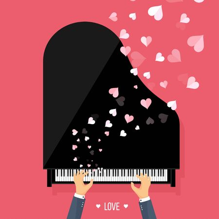 piano key: Vector illustration. Musical flat background with hearts. Love. Piano key, keyboard. Melody. Instrument.