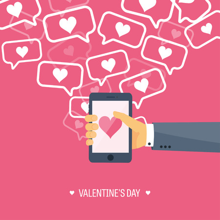 Vector illustration. Flat background with smartphone. Love, hearts. Valentines day. Be my valentine. 14 february. Illustration