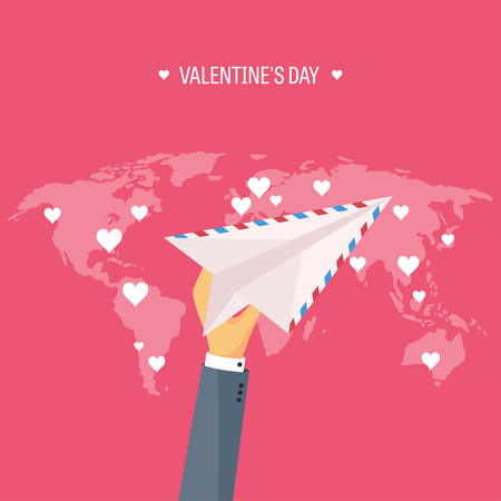14 of february: Vector illustration. Flat background with envelope, paper plane. Love, hearts. Valentines day. Be my valentine. 14 february.  Message.