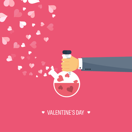 14 february: Vector illustration. Flat background with potion. Love, hearts. Valentines day. Be my valentine. 14 february. Illustration