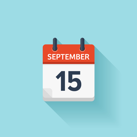 September  15. Vector flat daily calendar icon. Date and time, day, month. Holiday.