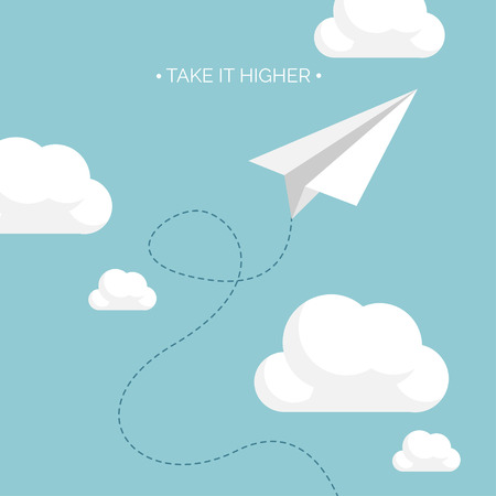 Vector illustration. Flat paper plane. Launch. Project startup.