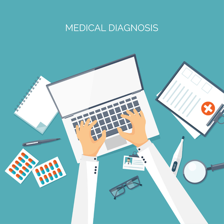 medical study: Vector illustration. Hands with laptop. Flat medical background. Health care ,first aid, research ,cardiology. Medicine ,study. Chemical engineering ,pharmacy. Illustration