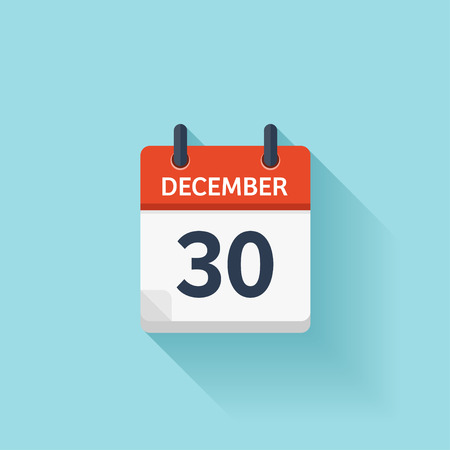 time of the day: December  30. Vector flat daily calendar icon. Date and time, day, month. Holiday.