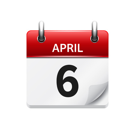 April 6. Vector flat daily calendar icon. Date and time, day, month. Holiday. Illustration