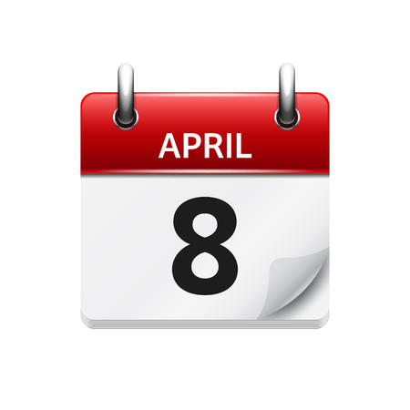 april clipart: April 8. Vector flat daily calendar icon. Date and time, day, month. Holiday.