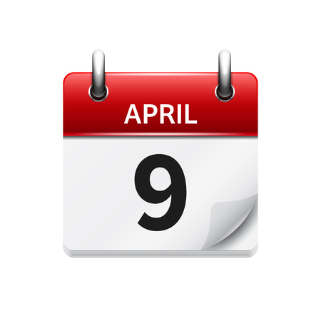 april clipart: April 9. Vector flat daily calendar icon. Date and time, day, month. Holiday. Illustration