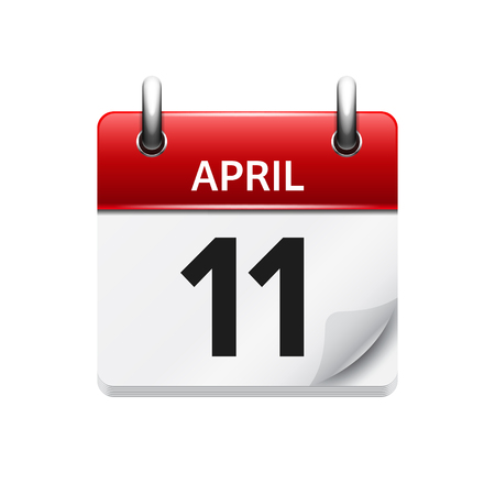 april clipart: April 11. Vector flat daily calendar icon. Date and time, day, month. Holiday.