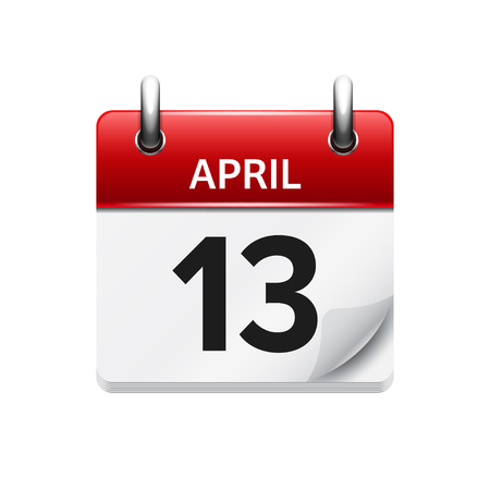 13: April 13. Vector flat daily calendar icon. Date and time, day, month. Holiday.