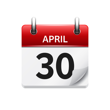 April 30. Vector flat daily calendar icon. Date and time, day, month. Holiday.