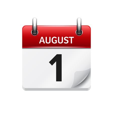1 de agosto del vector plana icono de calendario diario. Fecha y hora, día, mes. Fiesta.
