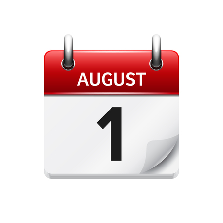 August 1. Vector flat daily calendar icon. Date and time, day, month. Holiday.