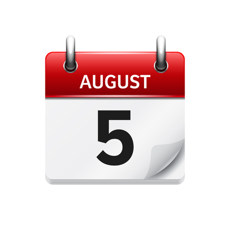 August 5. Vector flat daily calendar icon. Date and time, day, month. Holiday. Illustration
