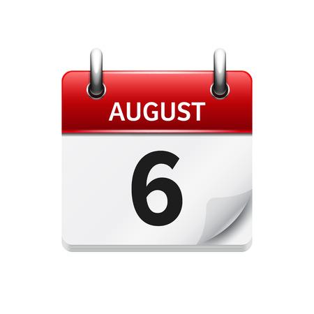 8 月 6 日。カレンダーのアイコンをベクトル フラット毎日。日付と時刻、日、月です。休日。