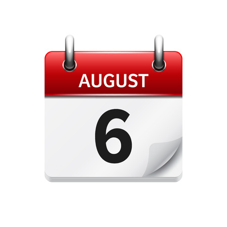 August 6. Vector flat daily calendar icon. Date and time, day, month. Holiday.