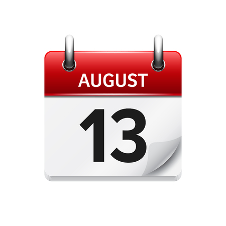 13: August 13. Vector flat daily calendar icon. Date and time, day, month. Holiday.