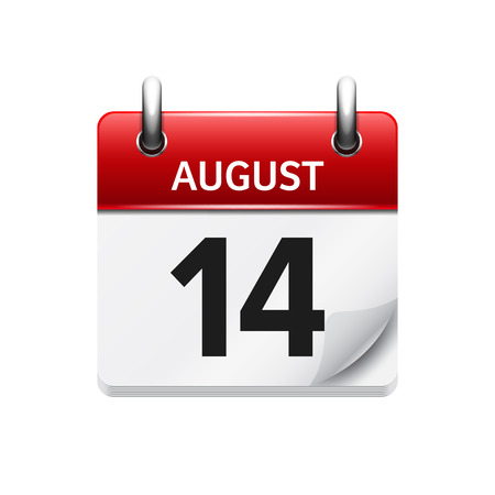 14: August 14. Vector flat daily calendar icon. Date and time, day, month. Holiday.