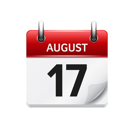 august: August 17. Vector flat daily calendar icon. Date and time, day, month. Holiday.