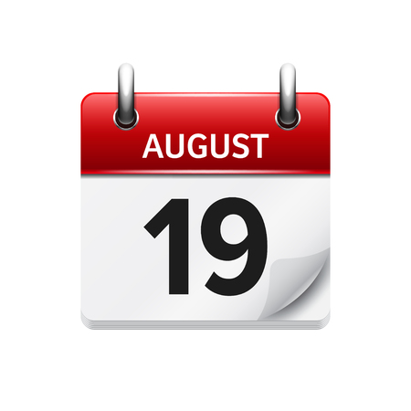 August 19. Vector flat daily calendar icon. Date and time, day, month. Holiday.