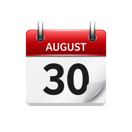 August 30. Vector flat daily calendar icon. Date and time, day, month. Holiday.