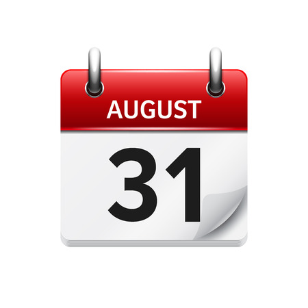 31: August 31. Vector flat daily calendar icon. Date and time, day, month. Holiday.