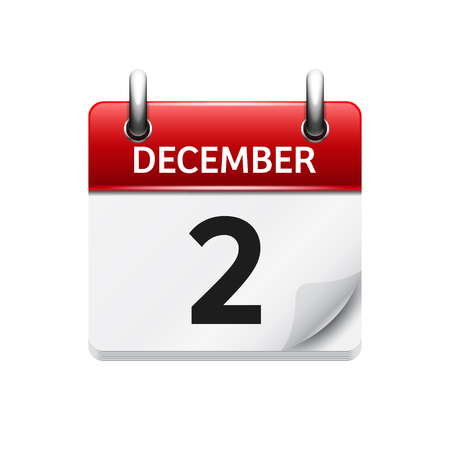 calendar day: December 2. Vector flat daily calendar icon. Date and time, day, month. Holiday. Illustration