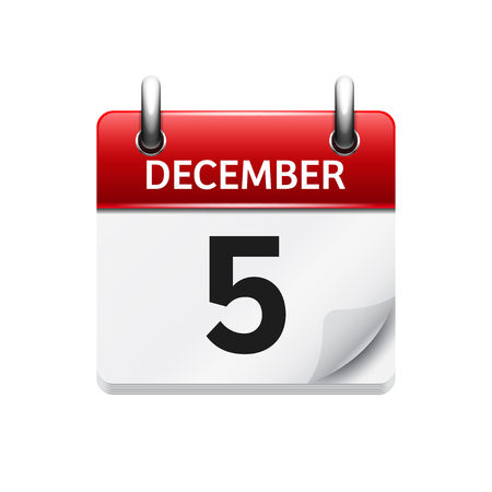 December  5. Vector flat daily calendar icon. Date and time, day, month. Holiday. Vectores
