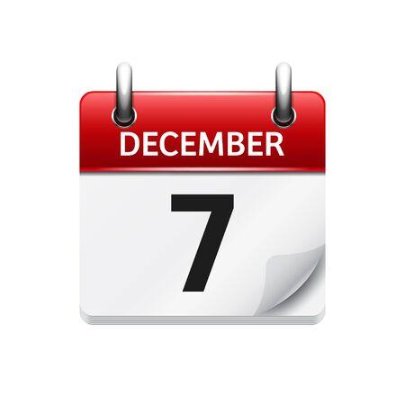7. Dezember Vector flach täglich Kalendersymbol. Datum und Uhrzeit, Tag, Monat. Urlaub.