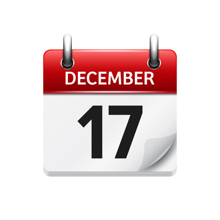 17: December  17. Vector flat daily calendar icon. Date and time, day, month. Holiday. Illustration
