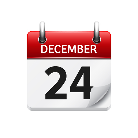 calendar date: December  24. Vector flat daily calendar icon. Date and time, day, month. Holiday.