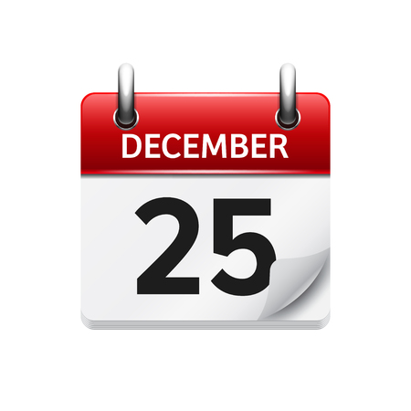 25 december: December  25. Vector flat daily calendar icon. Date and time, day, month. Holiday.