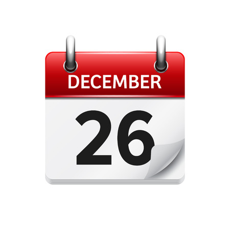 26: December  26. Vector flat daily calendar icon. Date and time, day, month. Holiday.