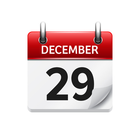 29: December  29. Vector flat daily calendar icon. Date and time, day, month. Holiday.