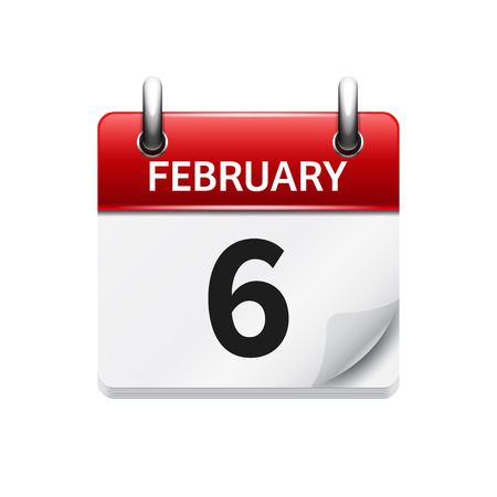 calendar date: February 6. Vector flat daily calendar icon. Date and time, day, month. Holiday.