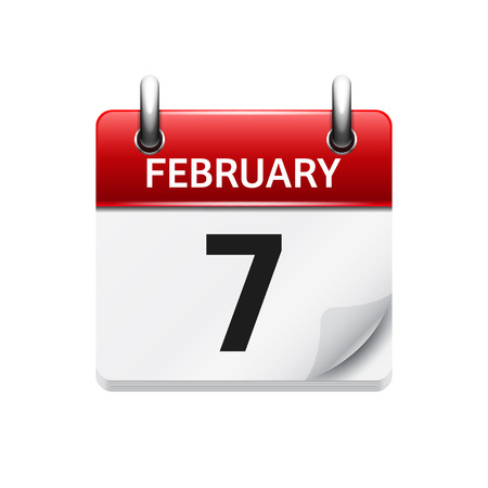 calendar date: February 7. Vector flat daily calendar icon. Date and time, day, month. Holiday.