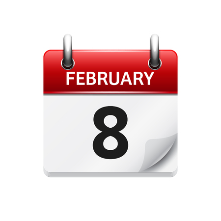 calendar date: February 8. Vector flat daily calendar icon. Date and time, day, month. Holiday. Illustration