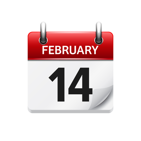 february 14: February 14. Vector flat daily calendar icon. Date and time, day, month. Holiday.