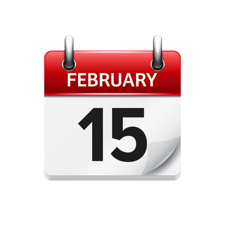 15: February 15. Vector flat daily calendar icon. Date and time, day, month. Holiday.