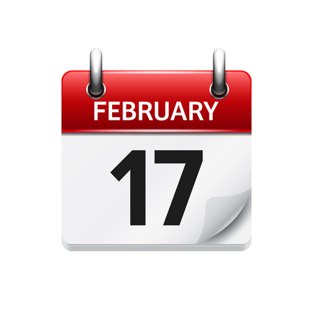17: February 17. Vector flat daily calendar icon. Date and time, day, month. Holiday.