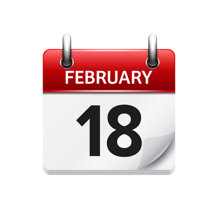 February 18. Vector flat daily calendar icon. Date and time, day, month. Holiday.