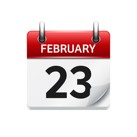 time of day: February 23. Vector flat daily calendar icon. Date and time, day, month. Holiday.