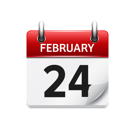 calendar date: February 24. Vector flat daily calendar icon. Date and time, day, month. Holiday. Illustration