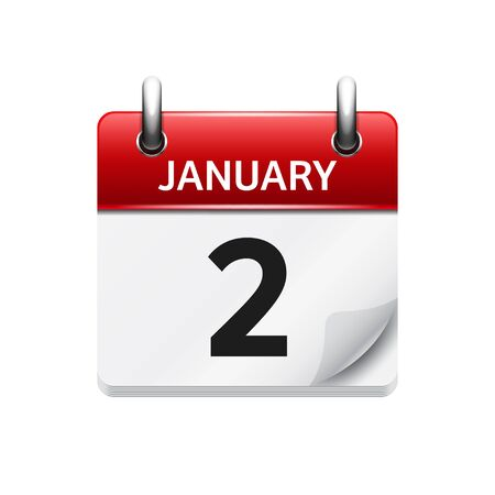 time of the day: January 1. Vector flat daily calendar icon. Date and time, day, month. Holiday.